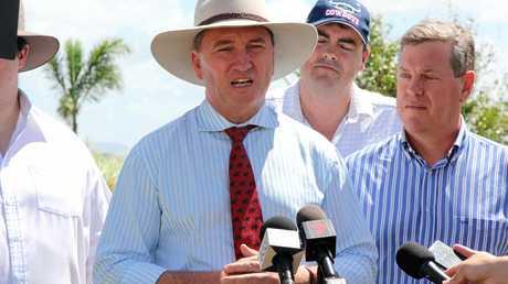 Acting Prime Minister Barnaby Joyce, member for Whitsunday Jason Costigan and opposition leader Tim Nicholls visited Proserpine Canegrowers Chair, Glenn Clarke's, farm at Glen Isla on Saturday.