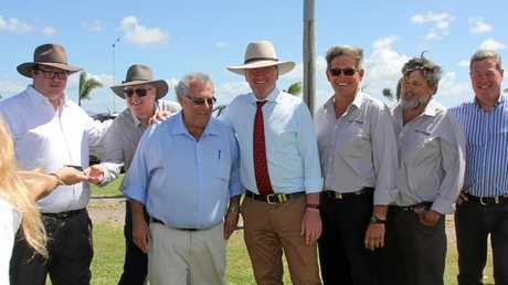 Acting Prime Minister Barnaby Joyce (centre) with Member for Dawson George Christensen, Canegrowers Proserpine manager Mike Porter, Canegrowers chairman Paul Schembri, Proserpine canegrowers chair Glenn Clarke, Proserpine Canegrowers board member Lindsay Altmann and opposition leader Tim Nicholls at Glenn Clarke's  Glen Isla farm on Saturday.