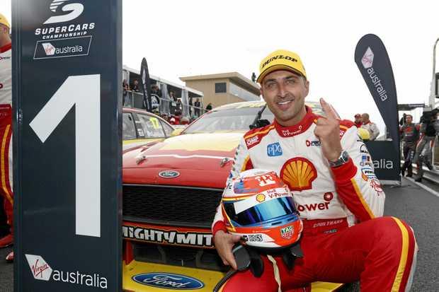 Fabian Coulthard of DJR Team Penske celebrates his race win in Tasmania