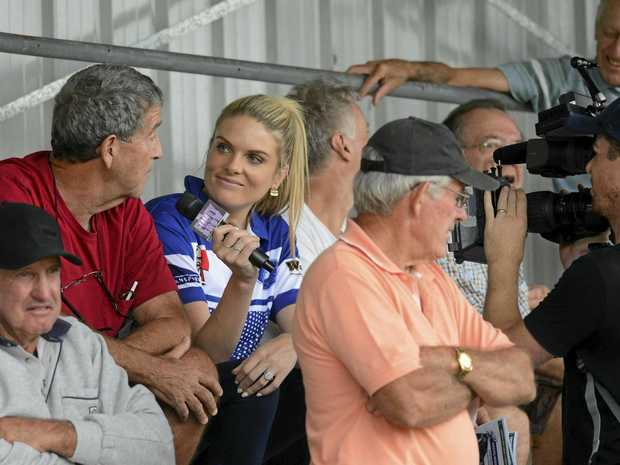 PRIME TIME: Channel 9 Footy Show host Erin Molan in the crowd at the local derby.