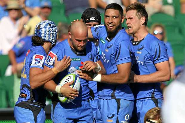 The Force celebrate a try during the Round 7 Super Rugby match between the Western Force and the Southern Kings at NIB Stadium in Perth