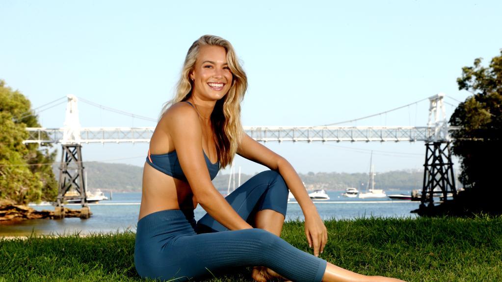 Model Nathalie Darcas wears activewear in Sydney.
