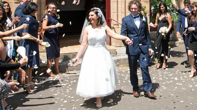 Simon McQuillan marries Alene Khatcherian in a scene from the TV series Married At First Sight. Supplied by Channel 9.