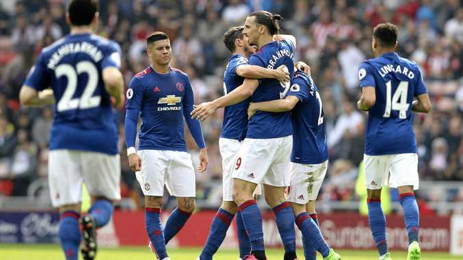 Manchester United's Zlatan Ibrahimovic, centre right, celebrates scoring his side's first goal against Sunderland.