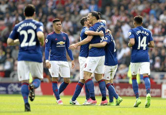 Manchester United's Zlatan Ibrahimovic, centre right, celebrates scoring his side's first goal against Sunderland.