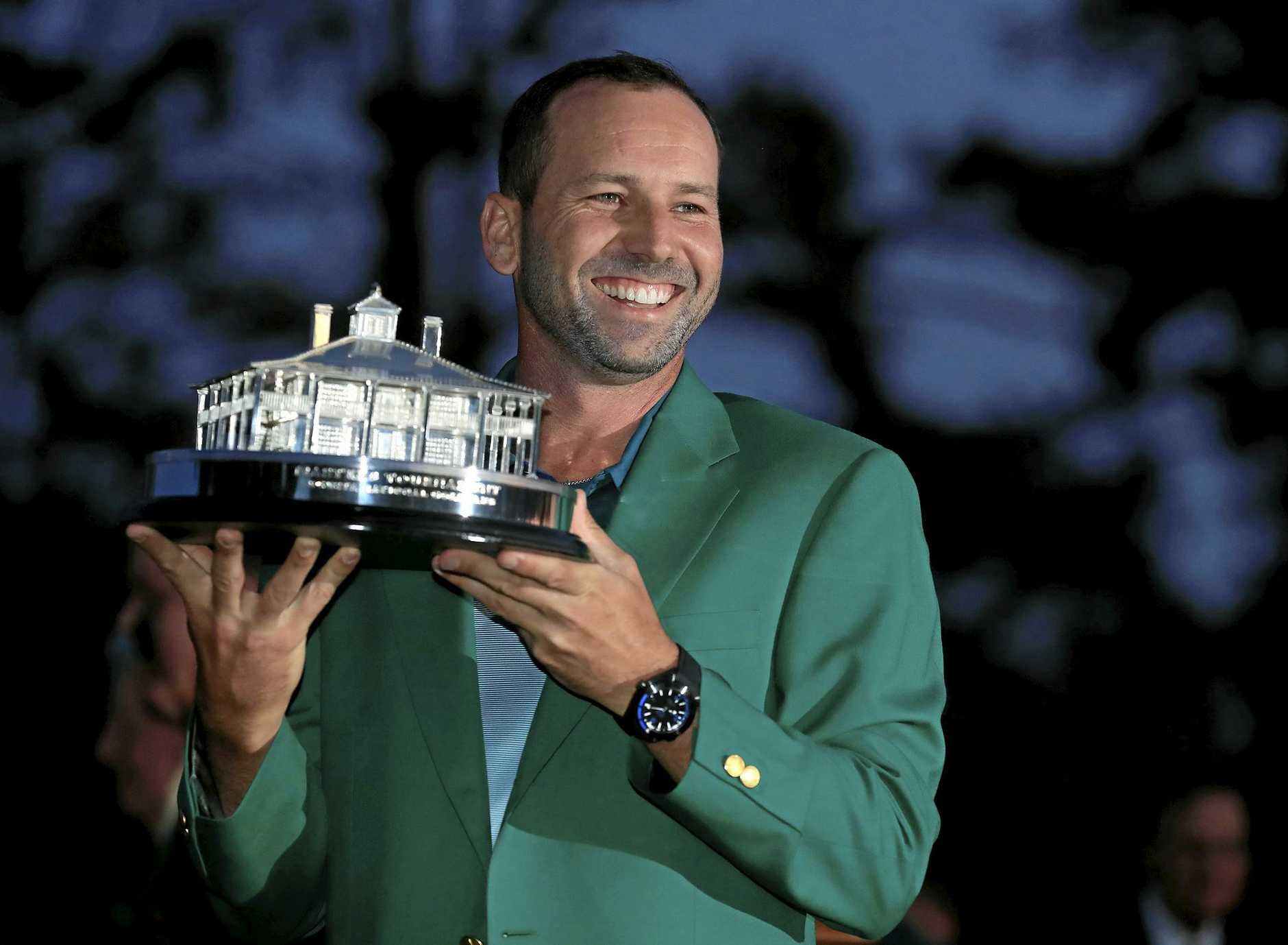 Sergio Garcia holds the Masters Championship Trophy