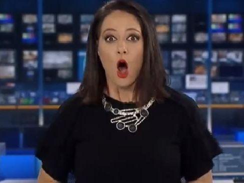 Natasha Exelby realises she's back on air on ABC News 24.