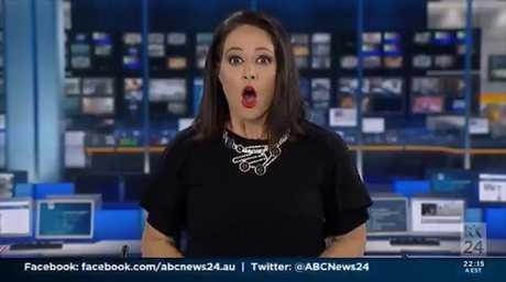 Priceless moment newsreader realises she's back on air