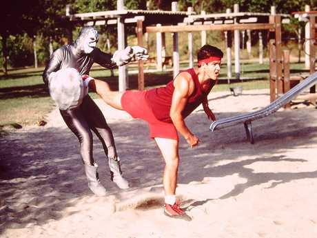 Original red Power Ranger Austin St John in a scene from the Mighty Morphin Power Rangers TV series.