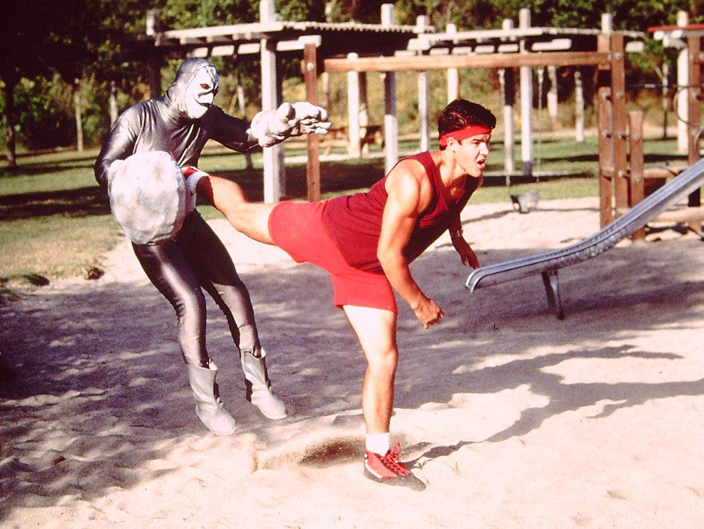 Original red Power Ranger Austin St John in a scene from the Mighty Morphin Power Rangers TV series.