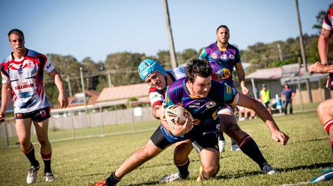 Evans Head second-rower Chad Banks on his way to the tryline in NRRRL at the weekend.