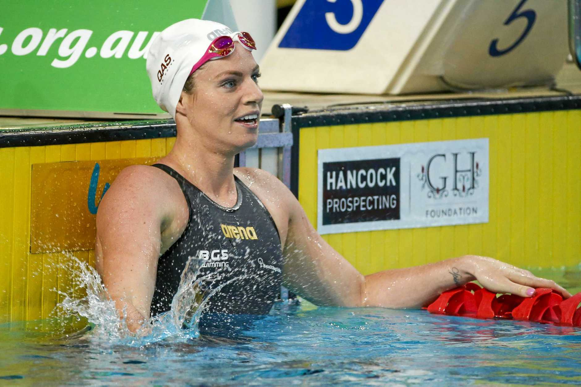 Emily Seebohm after winning the women's 100m backstroke on day two of the Australian Swimming Championships at the Brisbane Aquatic Centre.