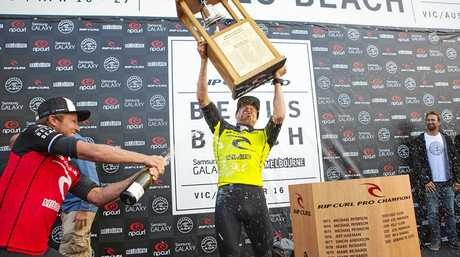 Mick Fanning after winning the Rip Curl Pro Bells Beach in 2014.