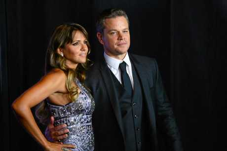 Matt Damon and wife, Luciana Barroso, arrive at the