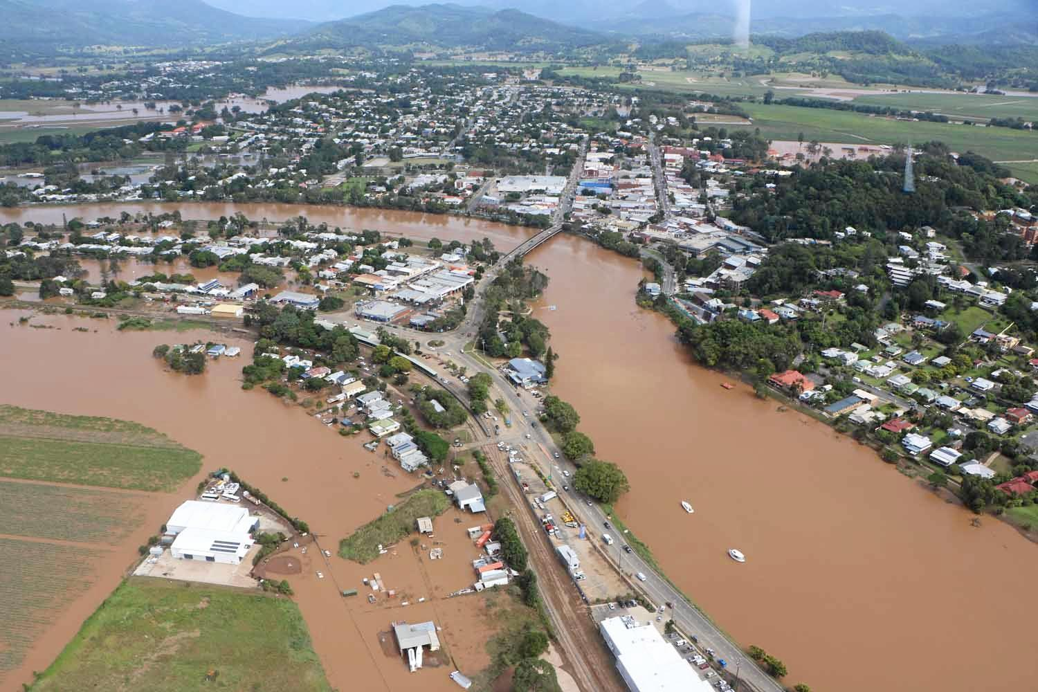 Aerial shot of Murwillumbah taken on April 1, 2017.