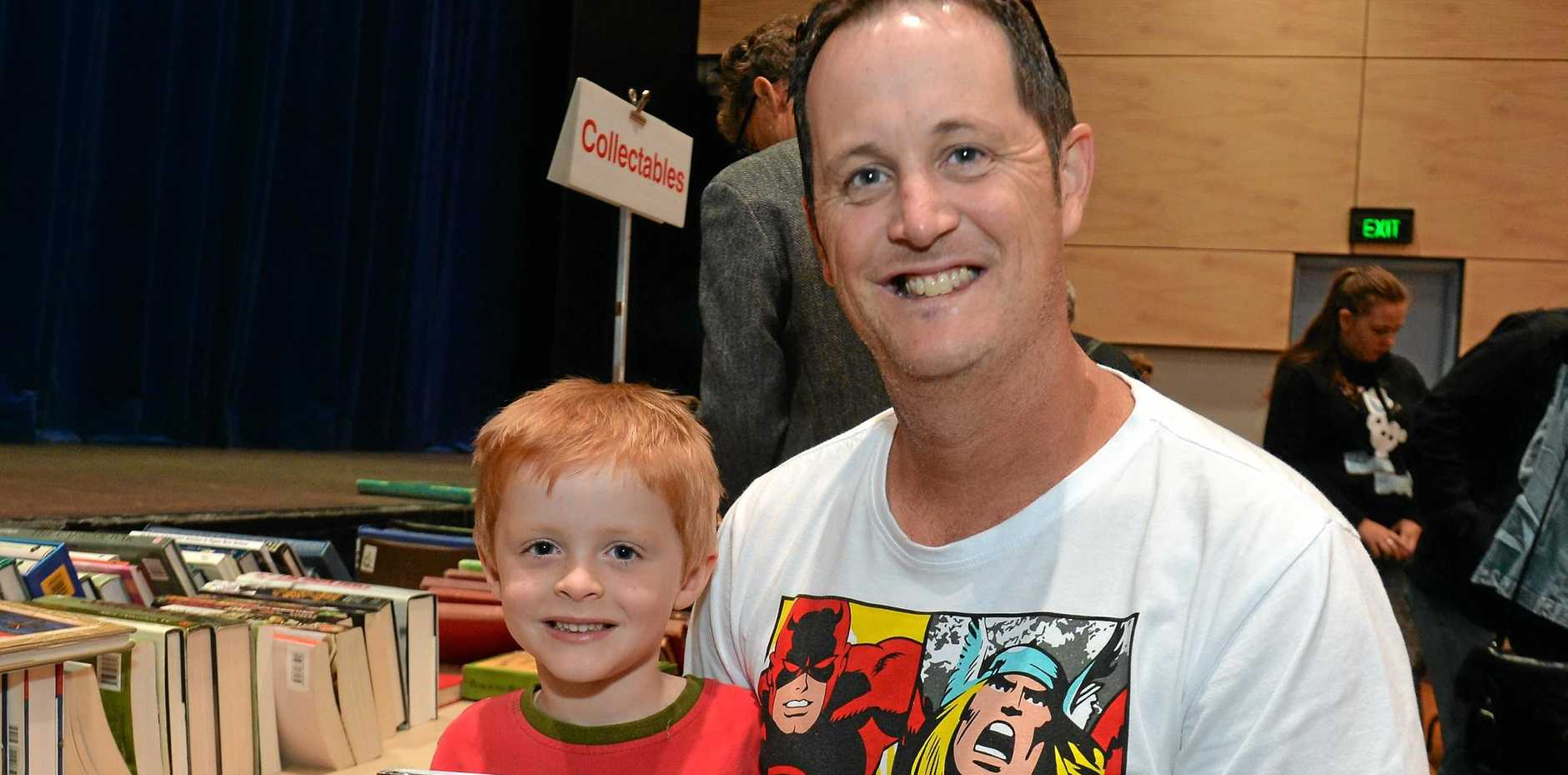 Labor candidate for the state seat of Caloundra Jason Hunt, with his son Liam, 5.