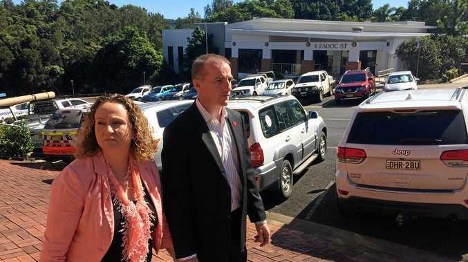 LISMORE mayor Isaac Smith outside Lismore Local Court on Tuesday with his wife Denise. Cr Smith is seeking an APVO against Lismore business owner Big Rob.