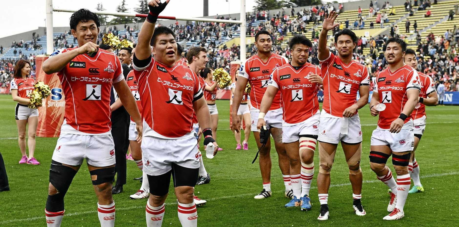 Sunwolves players celebrate their victory over the Bulls in round seven of the 2017 Super Rugby competition.