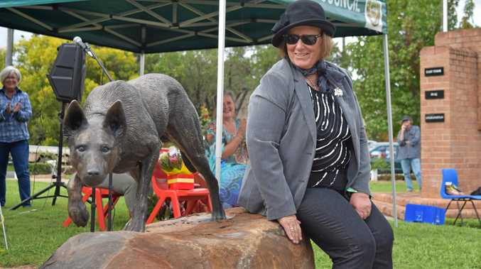 GOOD DOG: Sharon Tucker is happy to see the unveiling of the Bonalbo dog statue after 12 months of fundraising.