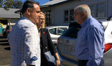 Minister Barilaro speaking with Lismore Chamber of Commerce and Industry president Deborah Benhayon and Lismore MP Thomas George.