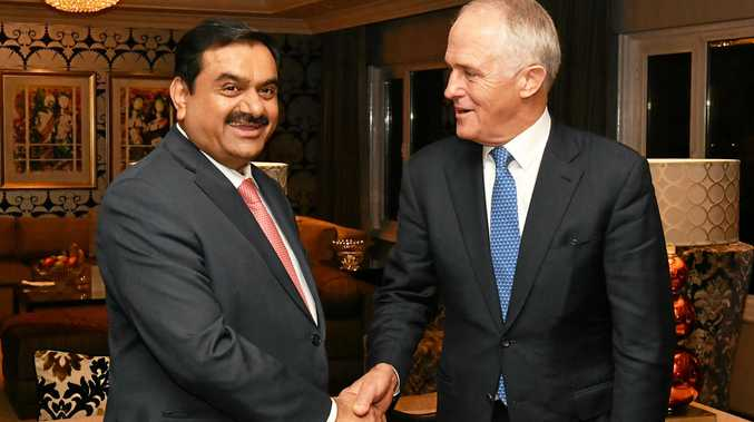 COAL KING: India's Adani Group founder and chairman Gautam Adani meets Australian Prime Minister Malcolm Turnbull  in New Delhi.