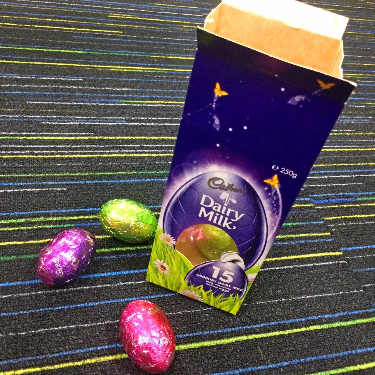 Cadbury Dairy Milk easter eggs.  Photo Contributed