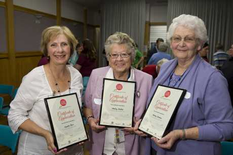 Shirley Meehan (right) at the National Volunteer Week Toowoomba awards at QCWA Hall in 2014. She's pictured with fellow hospital volunteers Lyn Ham and Shirley Mallet.