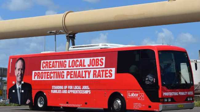 Bill Shorten's bus at Townsville Port. Malcolm Turnbull says his 'big talk' about jobs is baseless. Picture: Evan Morgan