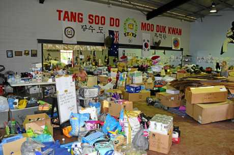 LOTS OF DONATIONS: The Aidtaskers have been inundated with donated items from the public.