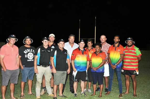 LEGENDS ON WAY: Craig Snell (Whitsunday Allstars), Kurt Olsen (Whitsunday Allstars), Darren Piggott (Whitsunday Civil Australian Legends sponsor), Brett Glazebrook (Bowen Juniors), Craig Teevan (legend and organiser), Mayor Andrew Willcox (Whitsunday Regional Council),   Troy Byers (event organiser), Michelle Hooke (Girudala Community Co-Op Whitsunday Allstars team sponsor), Christene Roney (Girudala Community Co-Op), Mike McLean (Whitsunday Allstars and Origin legend), Gareth Prior (Girudala Community Co-Op) and Aaron Motto (Whitsunday Allstars) are keen for the big event.