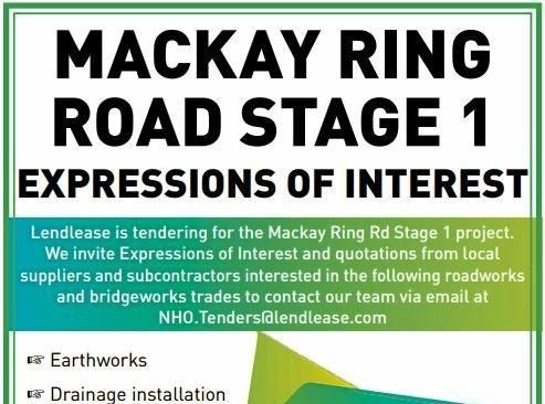 Lendlease are looking for Mackay sub-contractors for its plans to build the Mackay Ring Road.