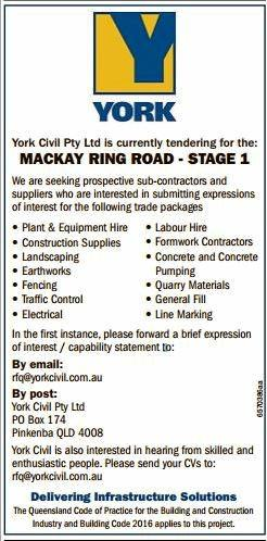 York Civil are looking for Mackay sub-contractors for its plans to build the Mackay Ring Road.