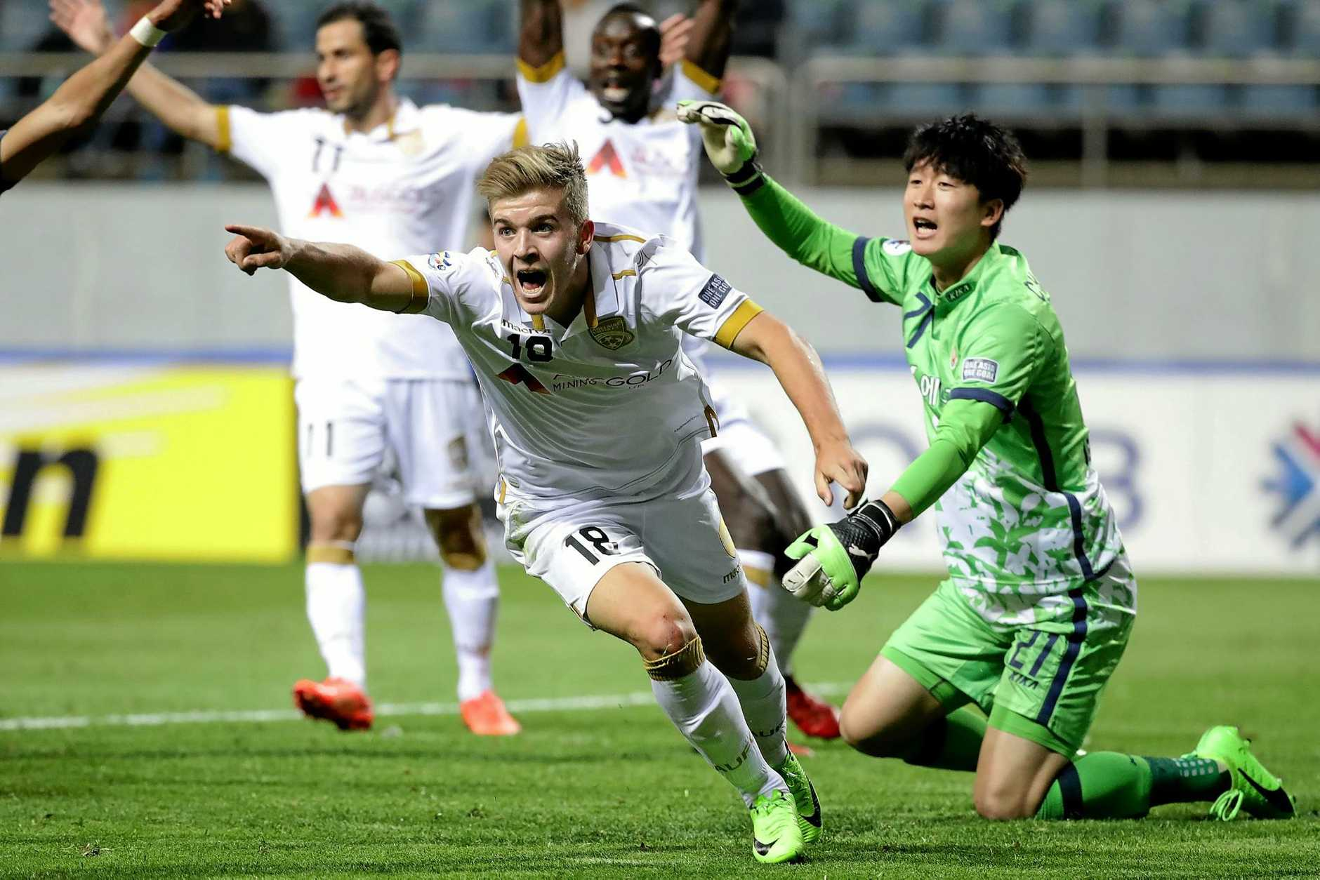 SEOGWIPO, SOUTH KOREA - APRIL 11:  Riley Patrick Mcgree of Adelaide United celebrates after scoring a goal during the AFC Champions League Group H match between Jeju United FC and Adelaide United at Jeju World Cup Stadium on April 11, 2017 in Seogwipo, South Korea.  (Photo by Chung Sung-Jun/Getty Images)