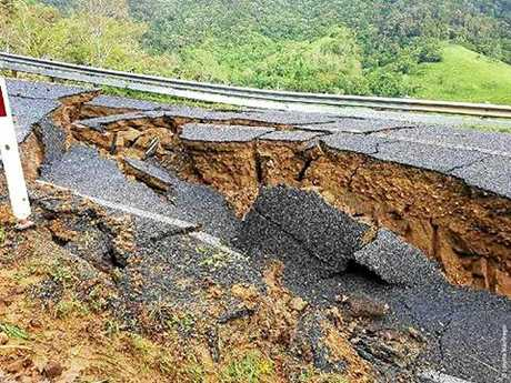 ROAD COLLAPSES: Damage to the Sarina Range will see dozens of students without a way to school.