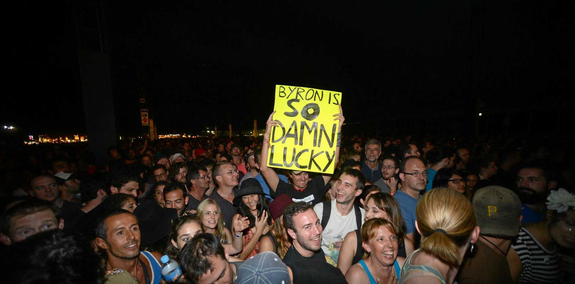 YES WE ARE: An enthusiastic crowd at the 25th Annual Byron Bay Bluesfest 2014.