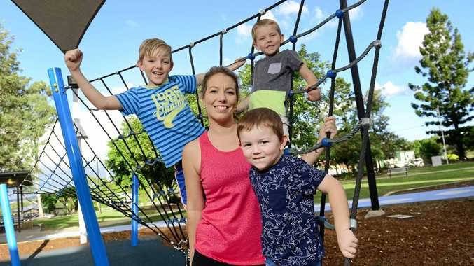 ON FORM: Kelly Dale exercise has helped to reduce symptoms caused by her illness Fibromyalgia Syndrome - she is seen here with three sons, from left - Bailey, 8, Riley, 5, and Charley (front), 4.