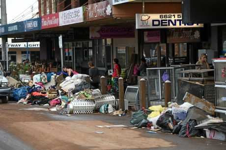 A large amount of debris was cleared out onto the streets of Lismore.