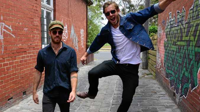 HAPPY TO BE HOME: Joe Jackson Fleming and Romey Tobin are local duo Barely Standing.