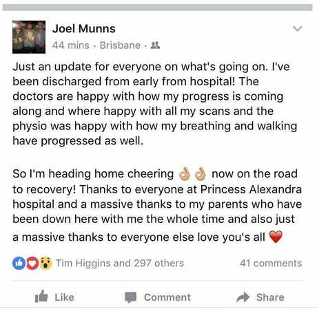Joel Munns is on the mend after an alleged stabbing.