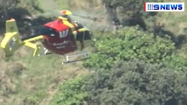 A rescue operation underway at Point Lookout on North Stradbroke Island. Picture: 9 News Queensland