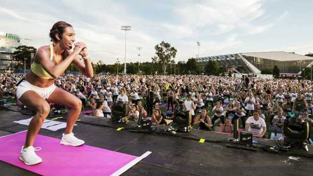 DO AS I SAY: Kayla Itsines in action in Melbourne late last year.