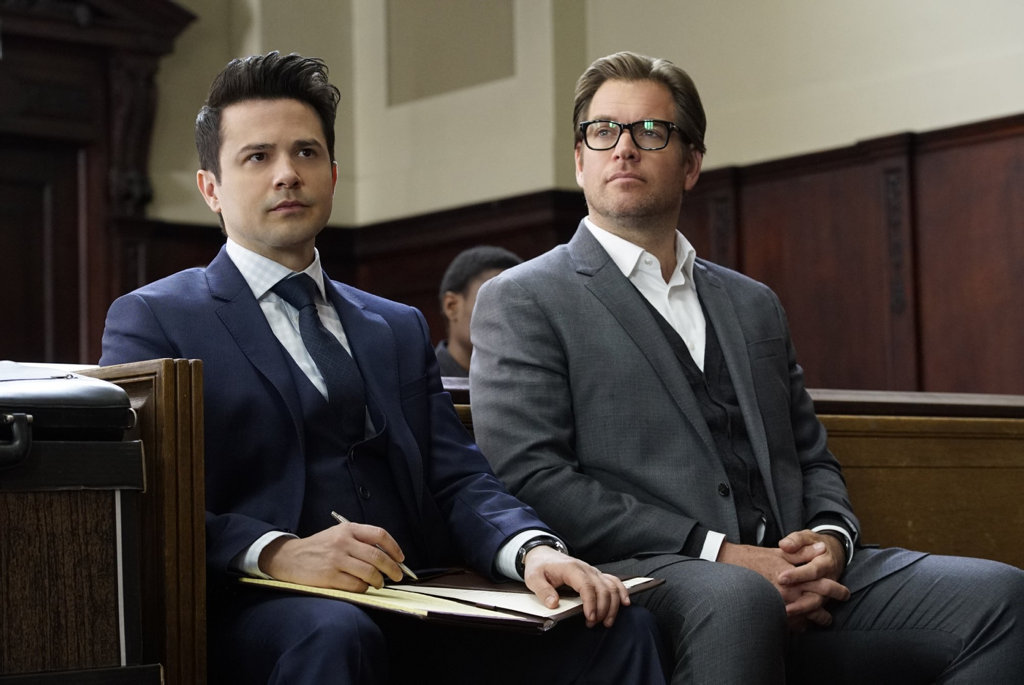 Freddy Rodriguez and Michael Weatherly in a scene from the TV series Bull.