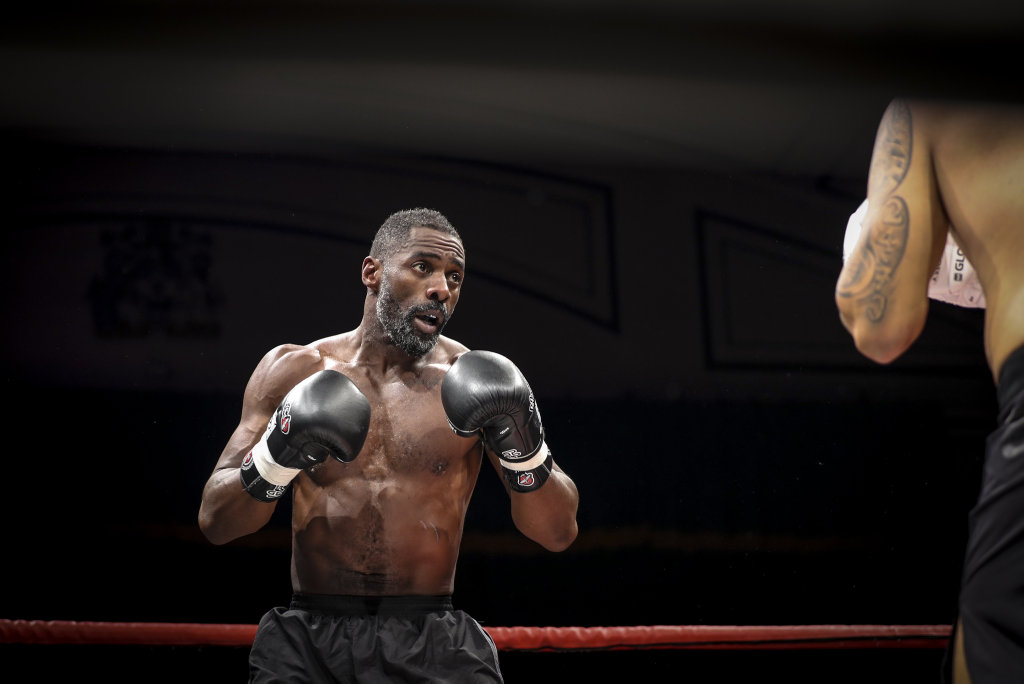 Idris Elba pictured during his first professional fight against Lionel Graves at York Hall, London, filmed as part of the TV series Idris Elba: Fighter.