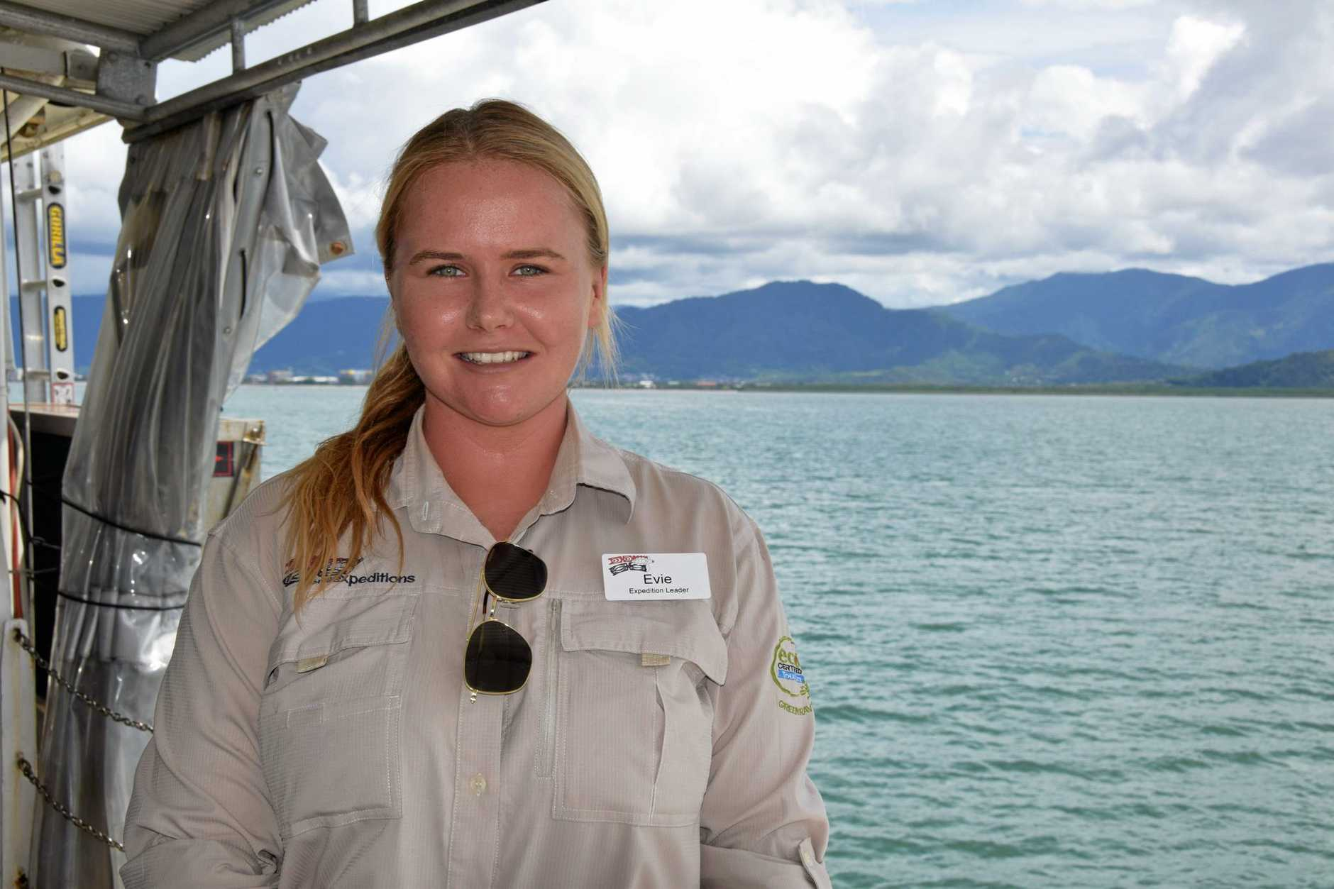 Marine Bioligist Evie Callandar on board Coral Expeditions II.