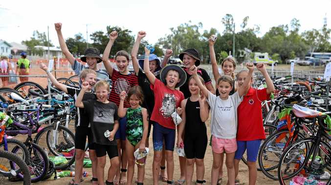 KID POWER: Bennett cousins celebrate a successful Julia Creek Dirt to Dust Festival this year.