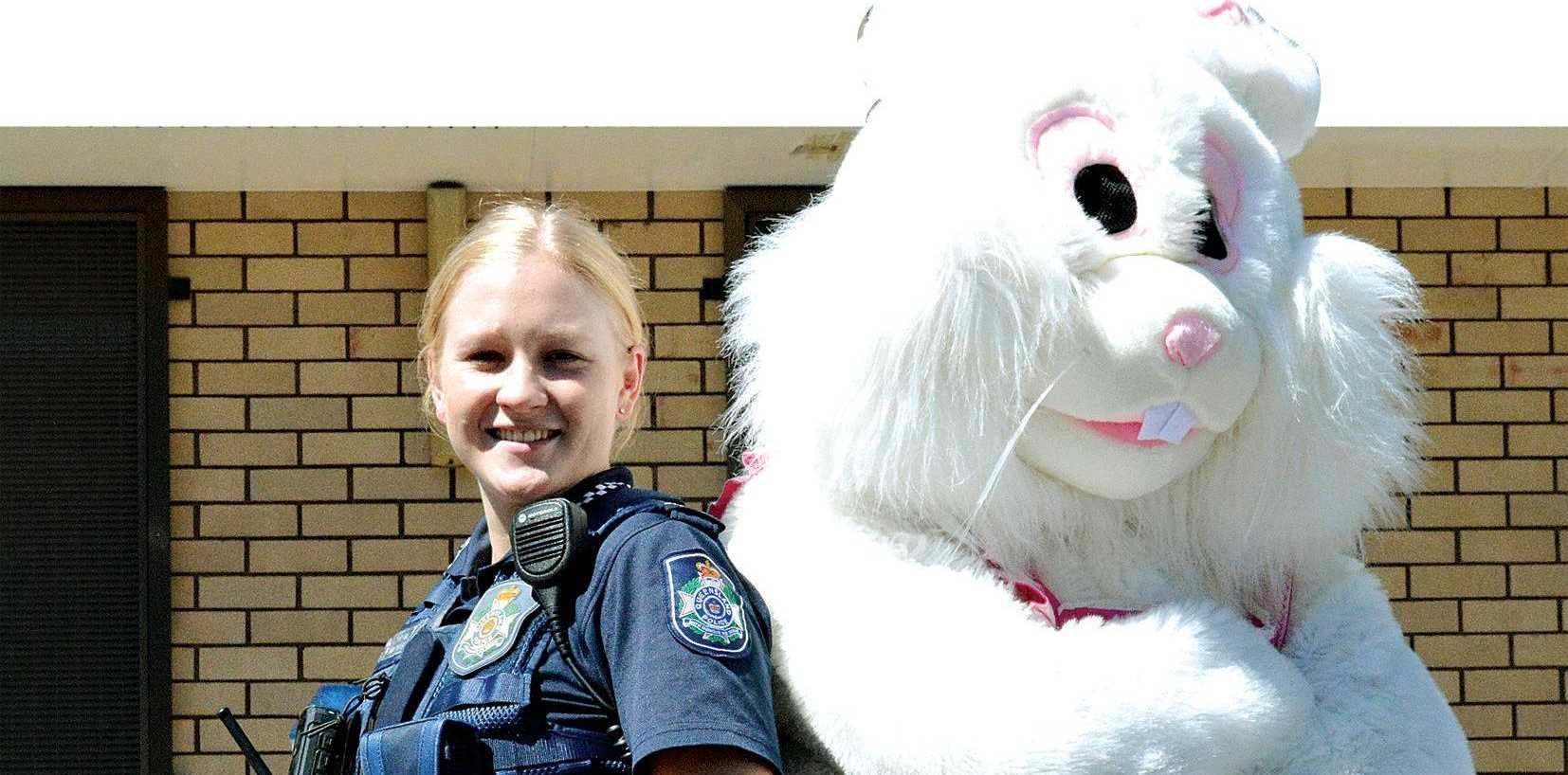 ROAD SAFETY: Dalby police officer Gabby Walter and the Easter Bunny are urging motorists to take care this Easter weekend.
