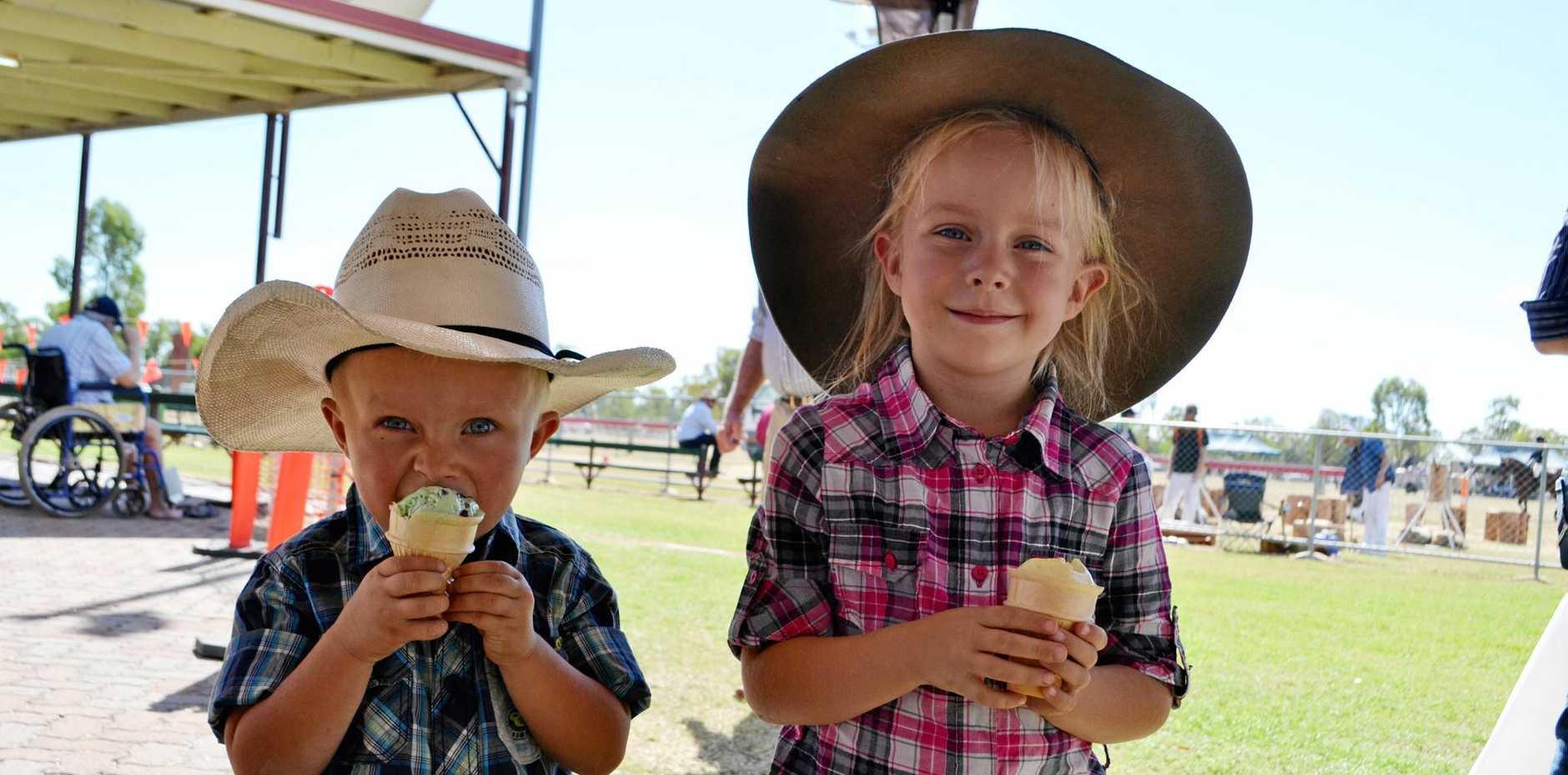 WOW WANDOAN: Tyler and Ashlee Kleidon from Gulugaba keep cool with ice creams at last year's Wandoan Show.