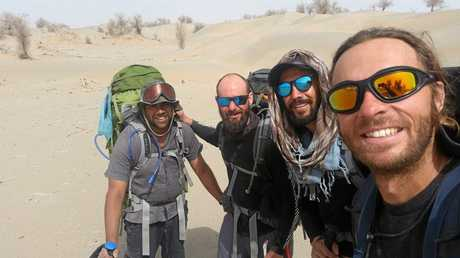 Kristan Fischer, Avirup Bagchi, Lawrence Alexander and Juan Guerrero crossed the Taklamakan desert on foot and unsupported.