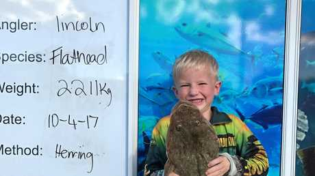 Lincoln landed this massive 2.211kg flathead while out fishing with his dad and brother.