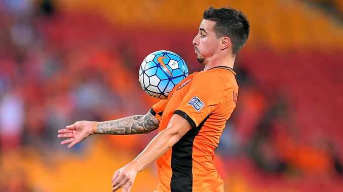 Jamie MacLaren controls the ball during the group E AFC Champions League Match between Brisbane Roar and Kashima Antlers at Suncorp Stadium in Brisbane